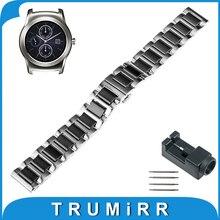 22mm cerámica venda de reloj para lg g watch w100/r w110/urbano w150 butterfly correa de hebilla de pulsera pulsera de la correa negro oro blanco
