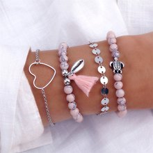 KISSWIFE 4Pcs/Set Bohemian Shell Turtle Bracelet Set Retro Sequins Tassel Stone Bead Bracelet Female Glamour Fashion Jewelry(China)