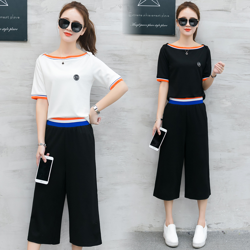 A Woman Top Trousers Outfit Korean Leisure Fashion Suits New Summer Loose Wide Legged Pants Two ...