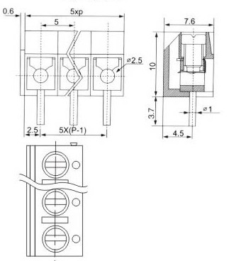 Клемник KF301-3Р 5.0 мм