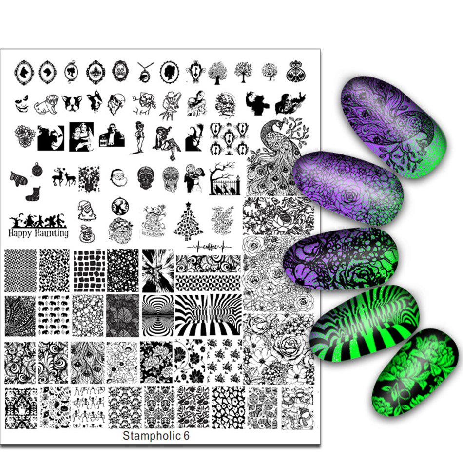 Exclusive Nail Stamping Plate Super Large 17*21cm Little Monster Flower Skull Image Stamp Template Manicure Nails Beauty Gift
