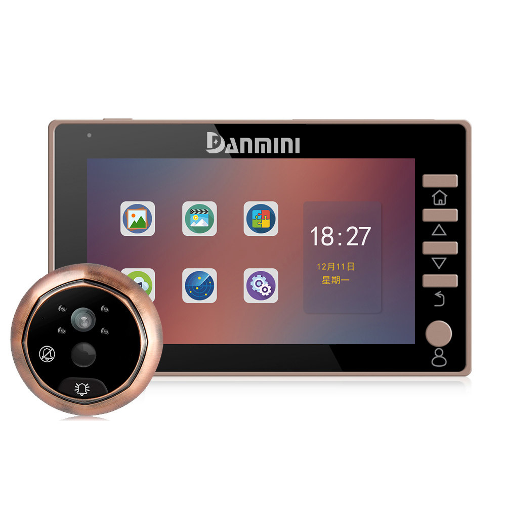 1920*1080 Full HD Electronic Cat Eye Camera Doorbell Video Peephole PIR Night Vision Motion Detection No Disturb Free Shipping