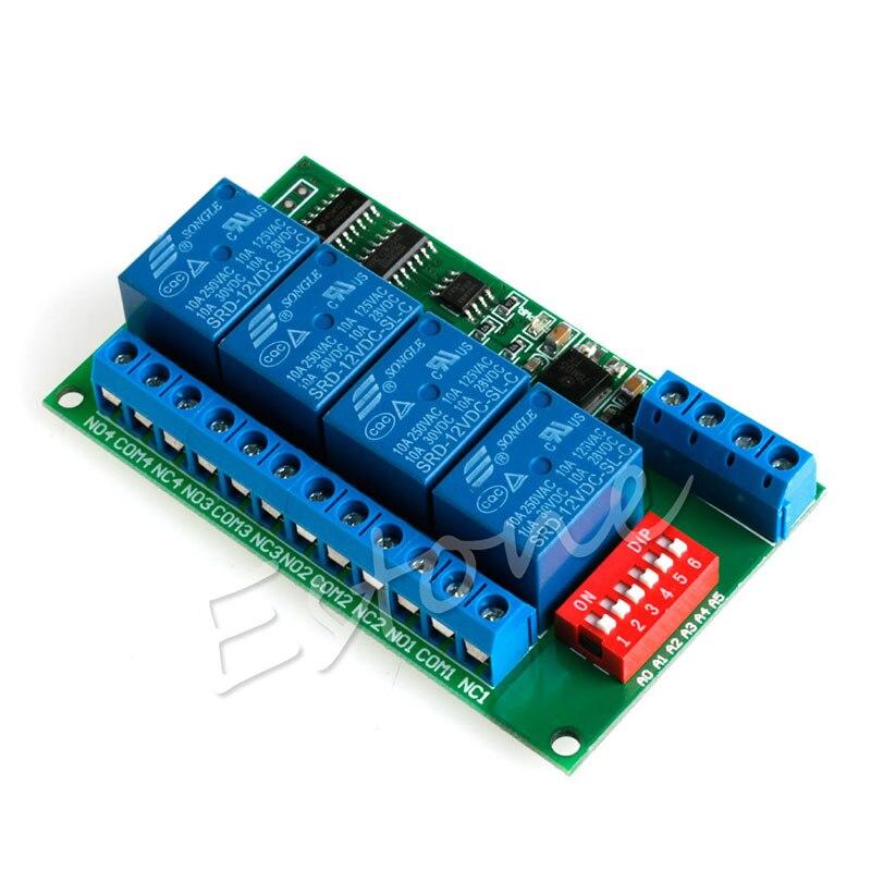 12 V Retransmitir 4CH RS485 Modbus RTU PC UART Board para PLC Lâmpada LED Controle de Câmera PTZ G08 Grande Valor De Abril 4