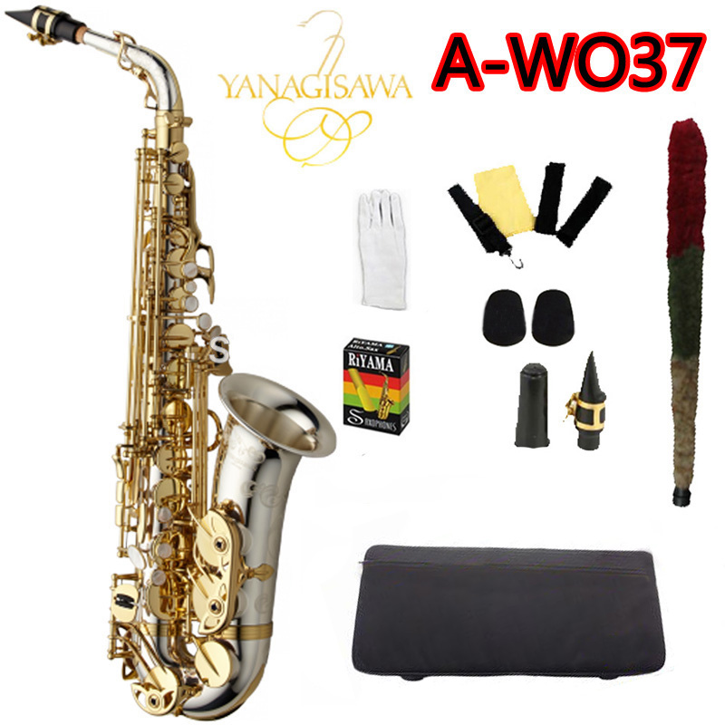 Brand NEW YANAGISAWA A-WO37 Alto Saxophone Silver Plated Gold Key Professional Sax Mouthpiece With Case and Accessories yanagisawa a 992 brand musical instruments alto saxophone eb tone phosphor bronze gold plated e flat sax with case mouthpiece