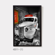 Vintage London Car Vehicle Printed on Canvas Painting Scooter Wall Picture Grey Background Poster no Frame Decor Bar