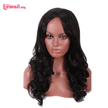 L-email wig Black Curly Lace Front Wigs 60cm Long Hair Wig Women Hair Heat Resistant Synthetic Hair Perucas(China)
