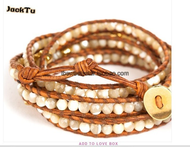 brown mother of pearl with gold skull leather wrap bracelet