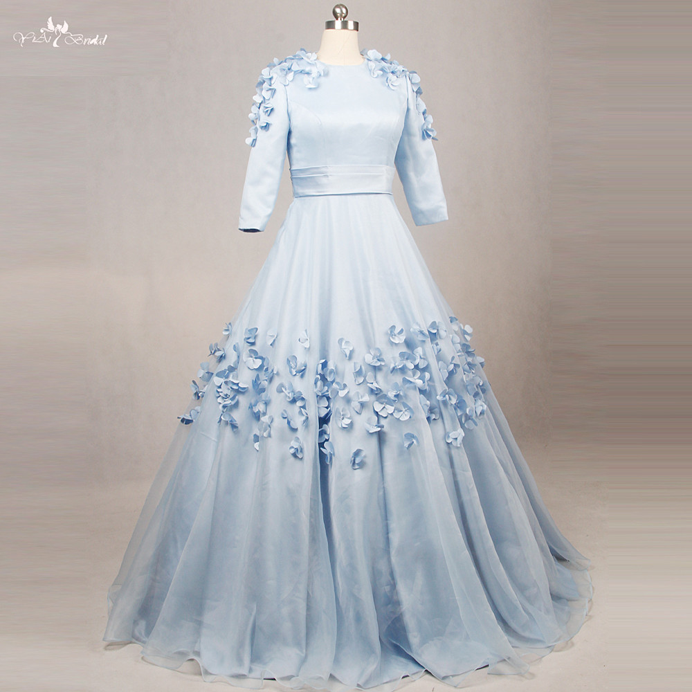 RSE794 Round Neckline Baby Blue Sweet 16 Florals Long Sleeve Quinceanera Dresses