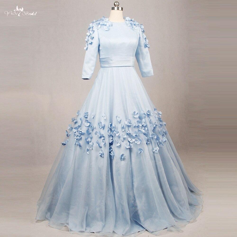 Rse794 круглый вырез голубые сладкий 16 Florals с длинным рукавом Бальные платья
