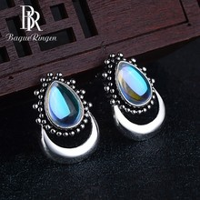 Begua Ringen Top Brand Water Drop Design Created Moonstone Stud Earrings for Women Real Silver 925 Jewelry Girls Gifts