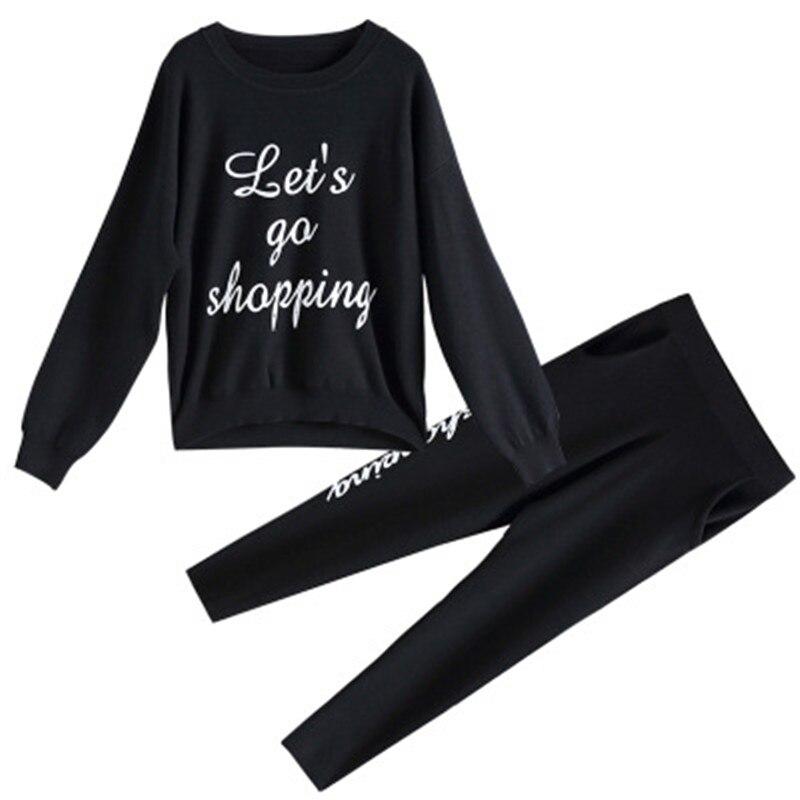 Mince Automne Chandail Mode Ronde Costume Casual Femmes Droit Deux Lettre Noir Taille Haute 2018 Pantalon dvw0IqI