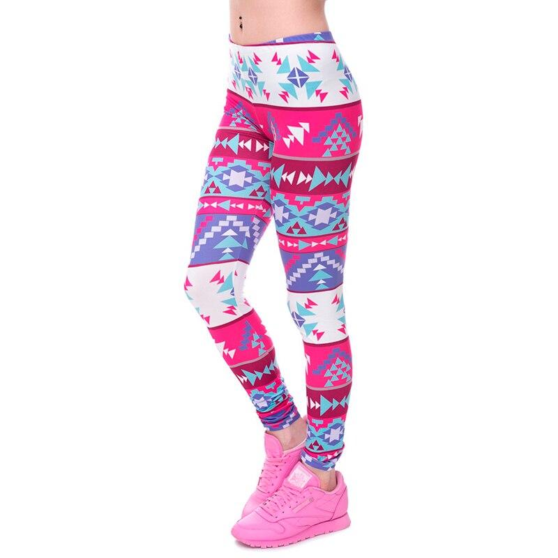 Women/Gilrs Funny Basic Leggings Lady Casual Town Wear Pant 3D Boho Purple Ombre Color Geometric Aztec Printing Slim Trousers