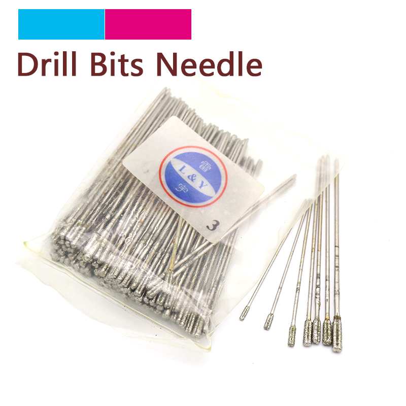 10pcs 1.0/1.2/1.4/1.7/1.8/2.0/2.3mm Diamond Coated Drill Solid Bits Hole Needle Jade Stone Jewelry Ceramic Glass Power Tools