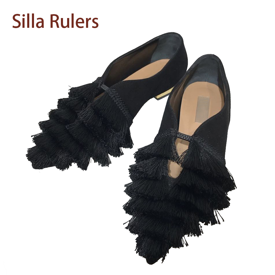 Silla Rulers Fashion Brand Designe Fringe Flat Shoes Kid Suede Pointed Toe Slip On Casual Shoes Shallow Mouth Tassel Women Shoes shoes women comfortable casual soft fashion slip on pointed toe suede flat loafers shoes