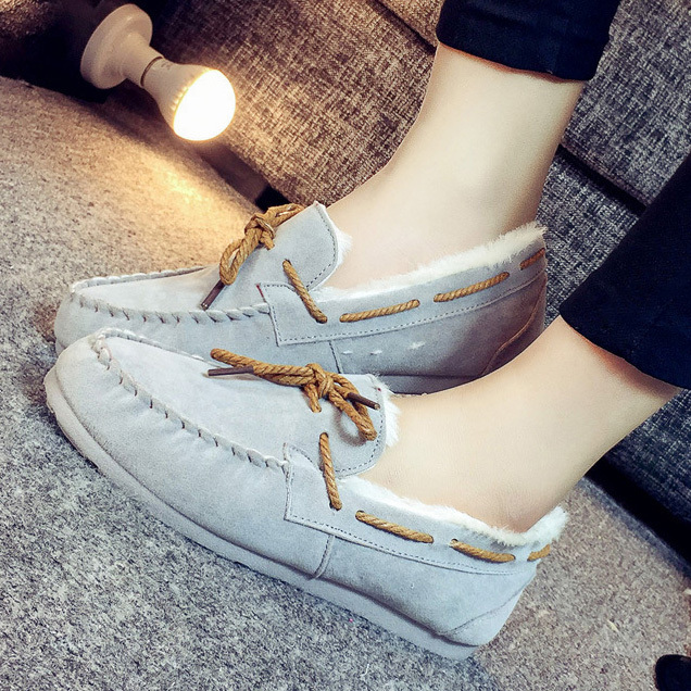 2016 women boots warm fur flat winter boots slip on  lazy shoes comfort women ankle boots casual shoes plus size ALF250B