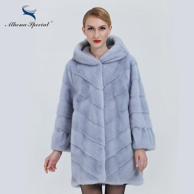 764af2bfc96 Athena Special Light Blue Color Women Real Mink Fur Coats Natural Genuine  Fur Hooded Nine Quarter Sleeve Ladies Fur Coats