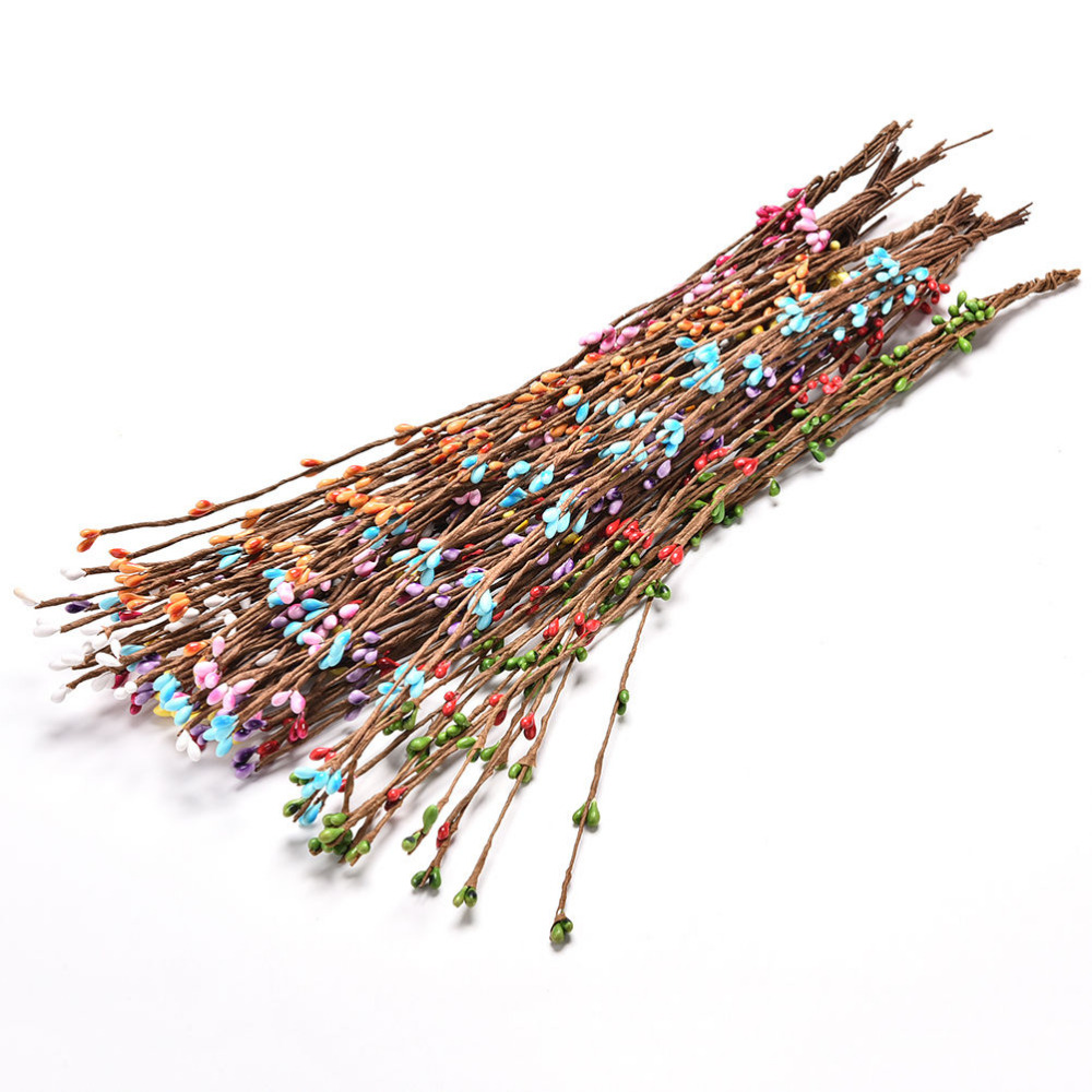 10pcs 40cm Bud Artificial Branches Flower Iron Wire For Wedding Decoration DIY Scrapbooking Decorative Wreath Decorative Flowers