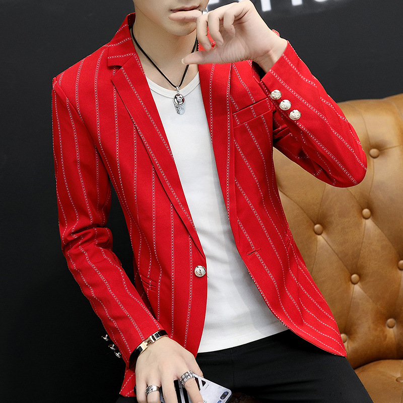 BOHO 2019 Male Vertical Stripes Of Cultivate One's Morality Leisure Blazer Teenagers Fall Wet Blazer