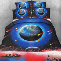 Free Shipping 3d Meteor Falling Star Planet Shooting Star 4pcs Bedding Set Home Textile Twin Full