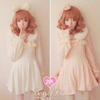 Princess Sweet Lolita Dress Bobon21 White Rabbit Fur Collar Wool Knitted One Piece Dress D0941