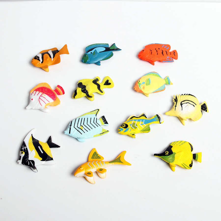12 pcs Cores Sortidas e Design Tropical Peixe Figura Play Set, Brinquedos de Plástico Peixes, educação Mini Animais Marinhos Brinquedos para As Crianças