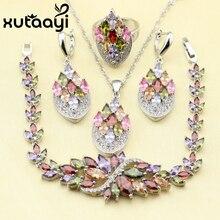 XUTAATI 4 UNIDS 925 Sterling Silver Jewelry Set Flor Colorida Creado Topacio Pendientes Anillo Collar Pendiente Pulsera