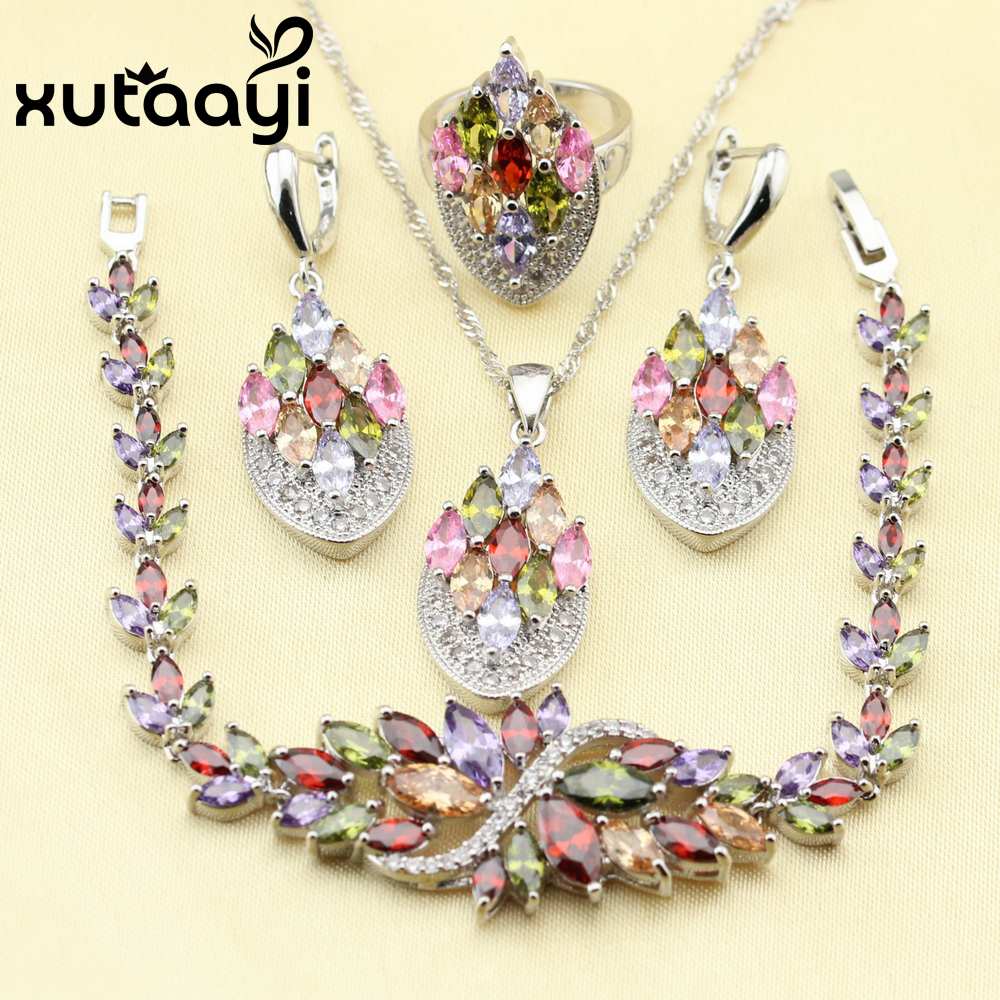 XUTAATI 4PCS 925 Sterling Silver Jewelry Set Flower Colorful Multicolor Stones Earrings Ring Necklace Pendant Bracelet