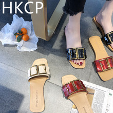HKCP Fashion 2019 south Korean version of the new female summer buckle flip-flops for students with beach slippers C171