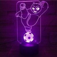 Kung fu panda sette luci remote touch calcio 3 d stereo 3 d luci LED piccola luce di notte luci regalo