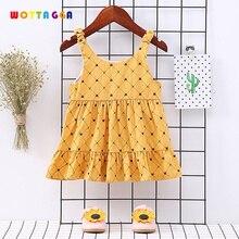 2019 WOTTAGGA Summer Girl Dress Elastic Sling Baby Toddler Plaid Brief Cotton Sleeveless New Kids Dresses for Girls