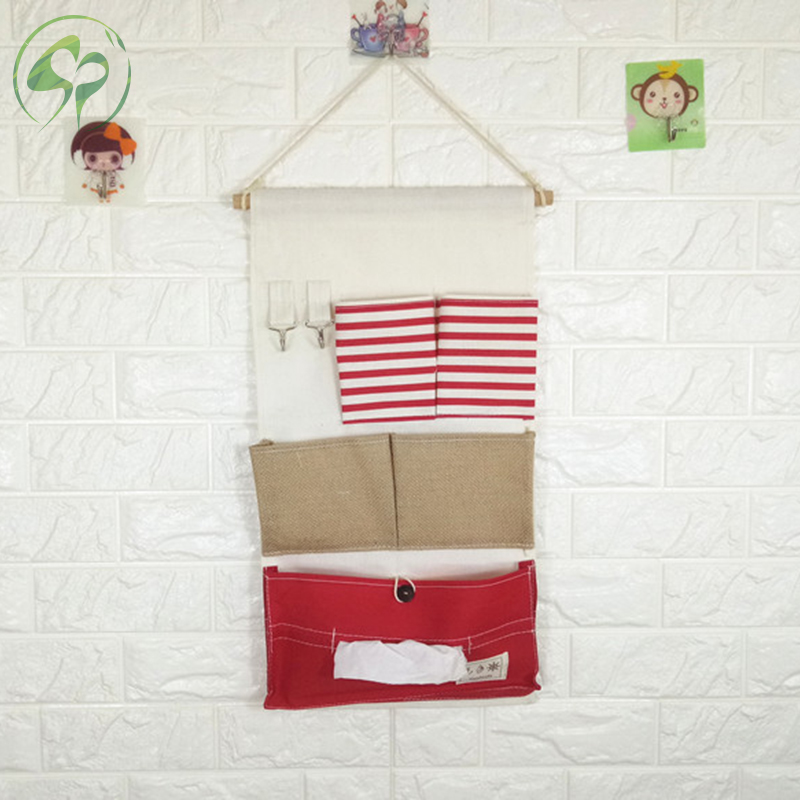 Home Wall Hanging Storage Pocket Bag Cotton Linen Mounted Wardrobe Hanging Bag Pouch Cosmetic Toys Organizer in Storage Bags from Home Garden