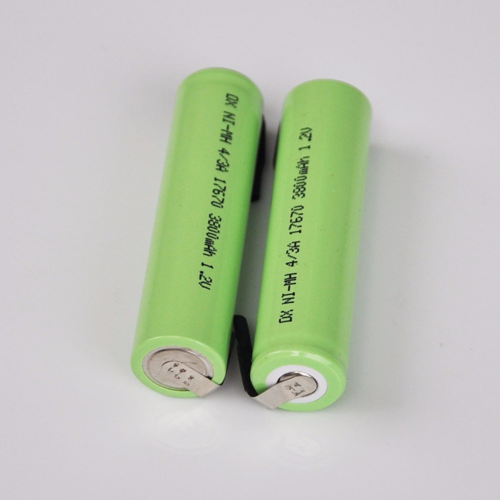 10PCS 4/3A 1.2V Rechargeable Battery 3800mah 7/5A 17670 17650 Ni-mh Nimh Cell With Welding Pins For Electric Shaver Toothbrush