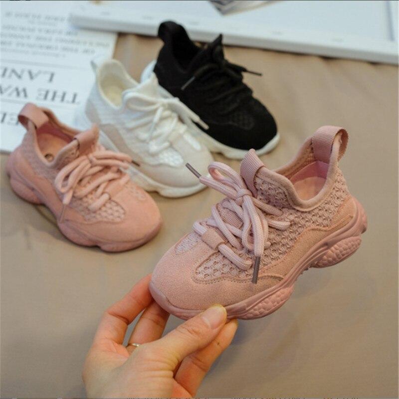 2019 nouveau automne enfants chaussures unisexe enfant en bas âge garçons filles baskets maille respirant mode décontracté enfants chaussures taille 21-30