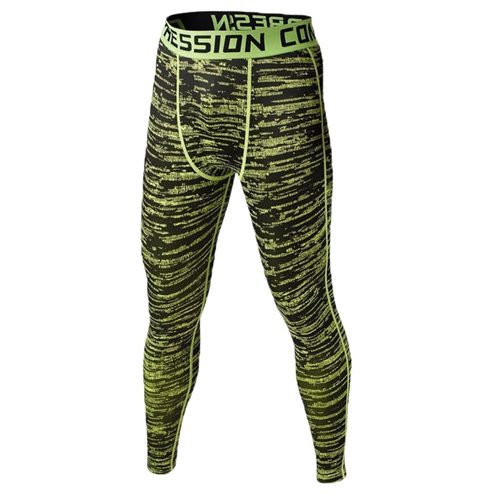 2018 Men Compression Long Pants Running Base Layers Skins Tights Army Camouflage Soccer Joggers Trousers(Green )