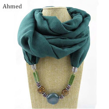 Ahmed Spring and Autumn Ethnic Geometry Ceramic Pendant Scarf Necklace Fashion Handmade Cotton & Linen Collar Necklace For Women