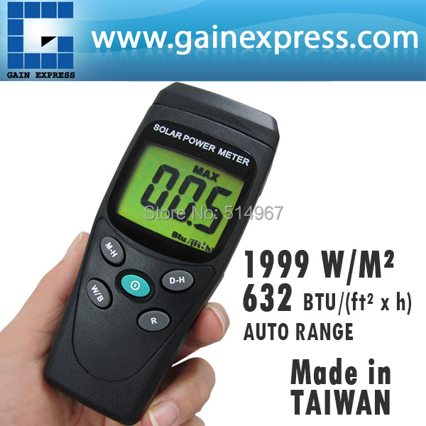 Digital Solar Power Meter BTU W/m2 Radiation Energy Cell Tester Auto Range Made in Taiwan  цены