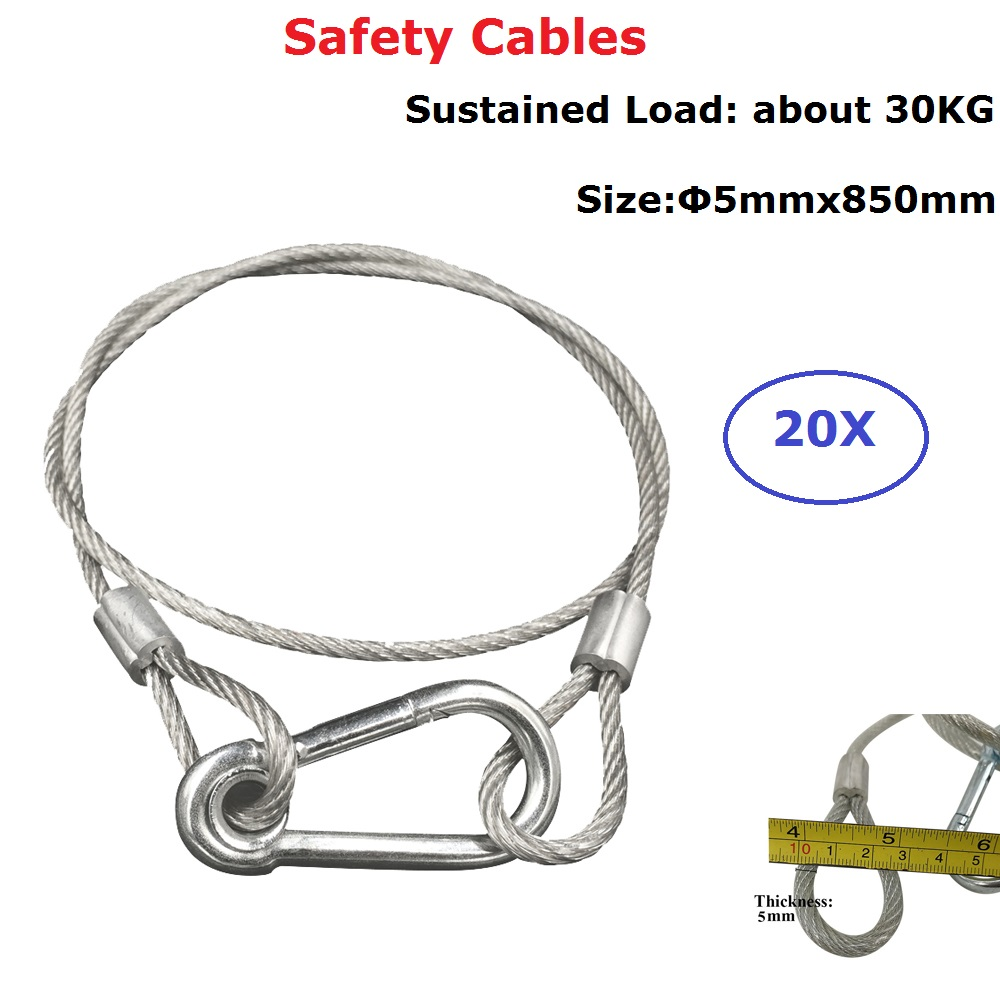 20XLot Stainless Steel Rope Loading Weight 30Kg,5mm Thickness Wire Safety Cables With Looped Ends For Securing Stage Lighting