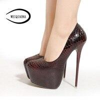 WEIQIAONA Women S 16CM High Heels New Fashion Snake Pattern Sexy Nightclub Platform Single Shoes Lady