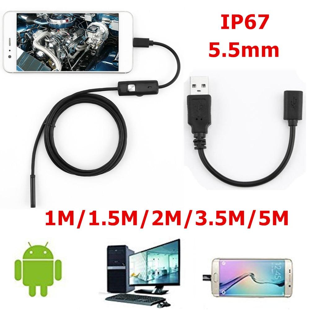 5.5mm Câmera Endoscópio HD USB Endoscópio Com 6 LEVOU 1/1. 5/2/3.5/5 m Macio Cabo Borescope Inspeção À Prova D' Água Para PC Android