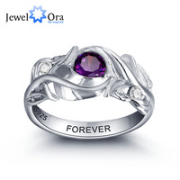 Personalized Engrave Birthstone Trendy Leaf 925 Sterling Silver Cubic Zirconia Engagement Ring Free Gift Box JewelOra