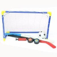 2 In 1 Outdoor Indoor Kids Sports Soccer Ice Hockey Goals With Balls And Pump Practice