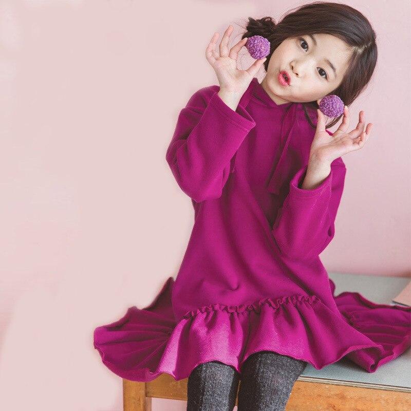 Sweats capuches hiver robe enfants 2019 automne volants chaud princesse robes adolescentes enfants robe épaisse pour filles enfants