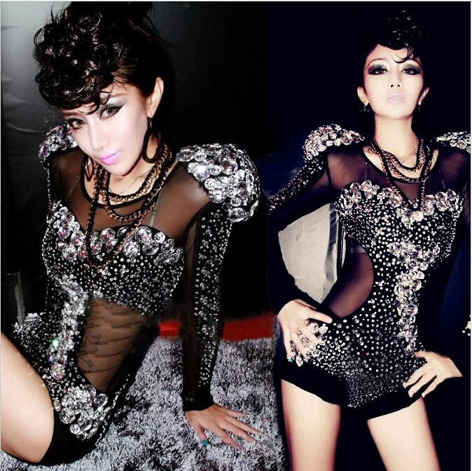 Strass Danseur Photo Salopette Costumes Mode Noir Porter Scintillant Cristaux Féminine Argent Tenue Chanteur Color Body Performance Stage qwgFYT