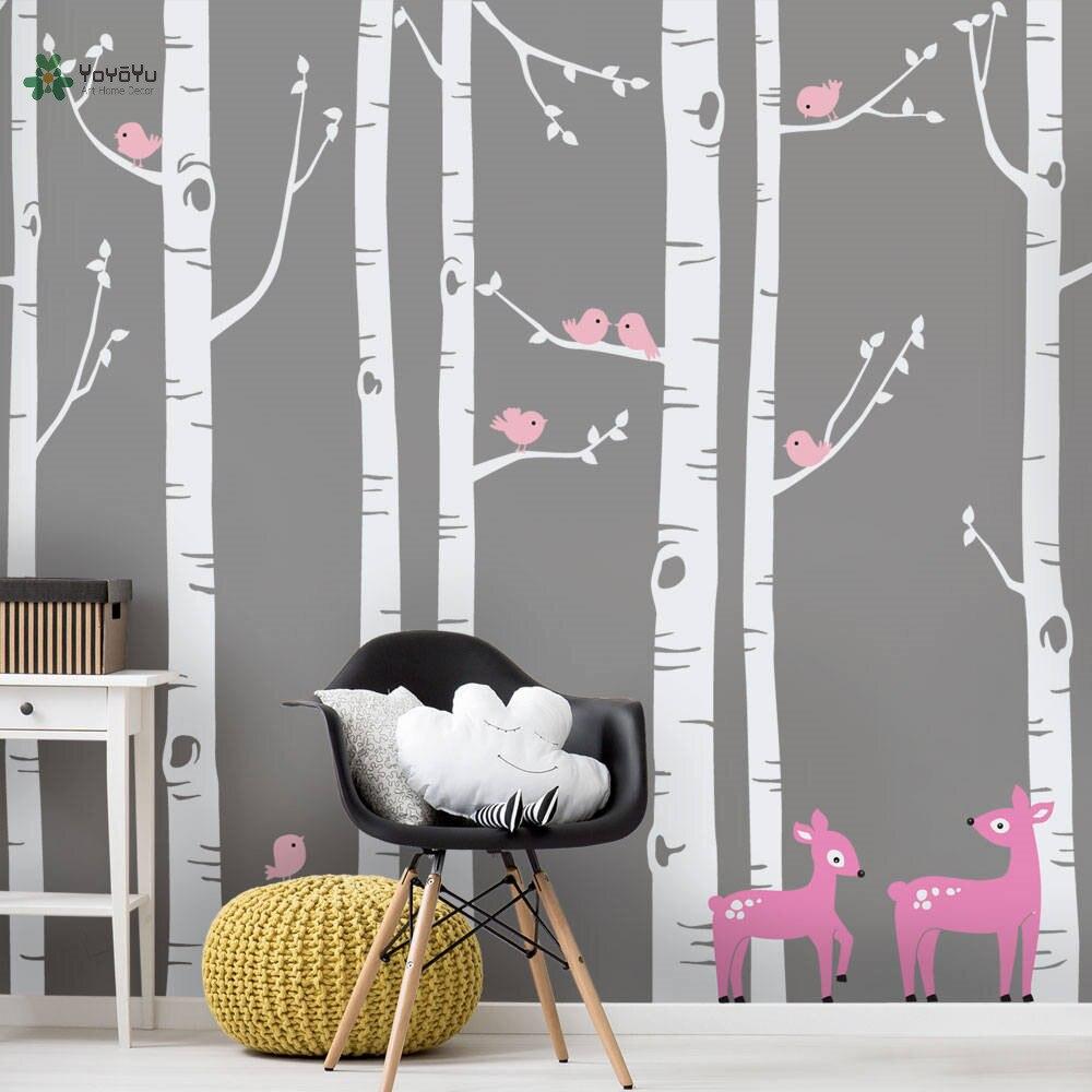 YOYOYU vinyle sticker mural blanc bouleau cerf et oiseaux Simple pantalon Art salon Nature décoration de la maison autocollants FD541