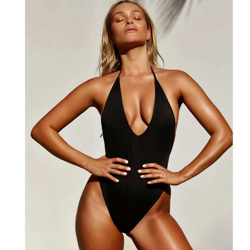 ce6b7ed641 ... Sexy White Deep V Neck Plunge High Cut Backless Bathing Suit Monokini Thong  Swimwear Women One ...