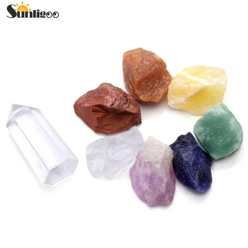 Sunligoo 7 Chakra Guarigione Reiki Meditazione Yoga Balance Irregolare Ruvido Pietre Preziose Kit E Raw Naturale Chiaro Quarzo Bacchetta Terapia