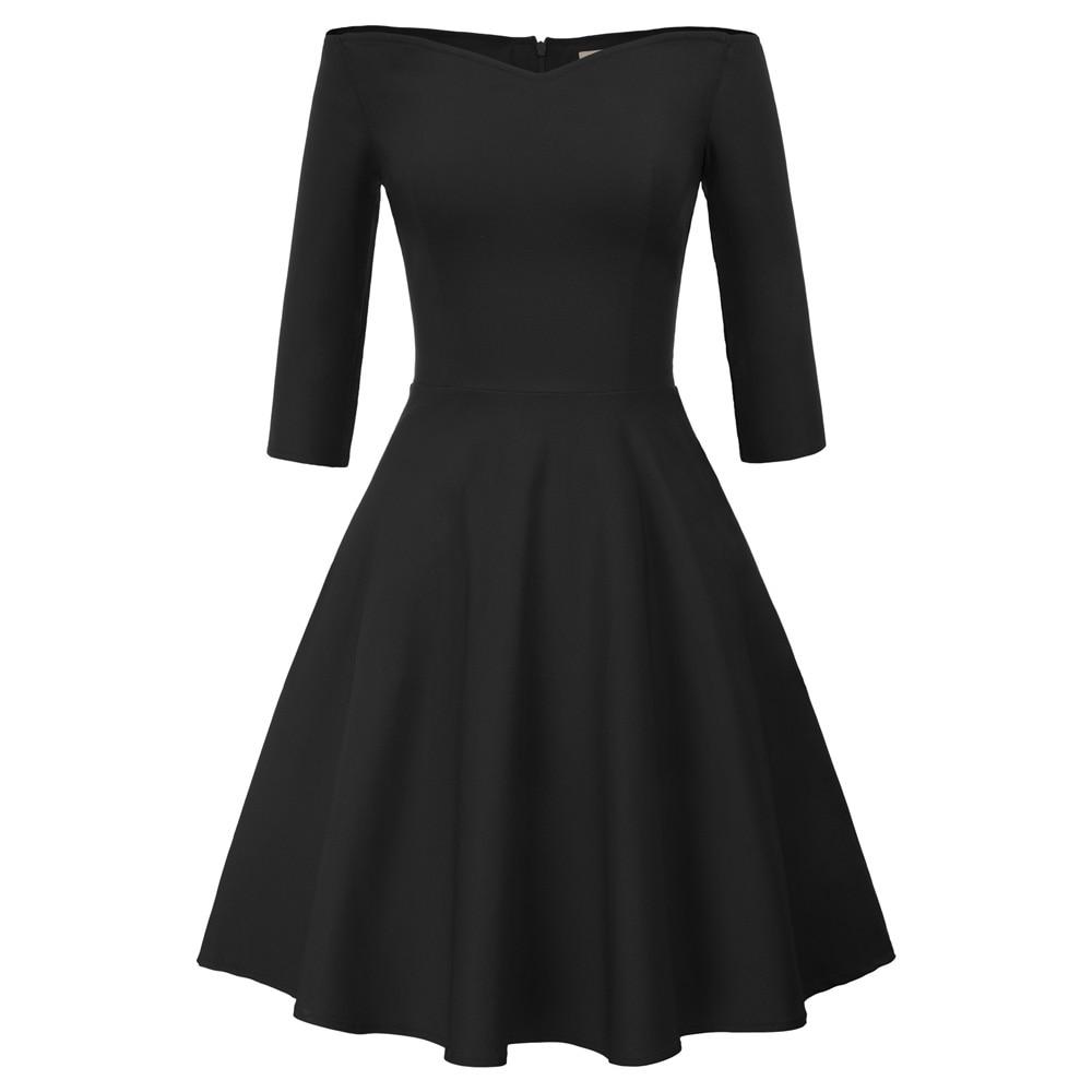 Women Retro Vintage Dresses 50s 60s Black 3 4 Sleeve Off Shoulder V-Neck c56dd2f760c7