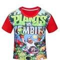 4Y-12Y Plants vs Zombies Meninos t-Shirt de Algodão T Crianças t-Shirt meninos da Camisa de t Roupas Infantis Menino t Camisa Garcon Crianças topos