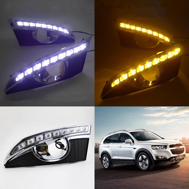 DRL For Chevrolet Captiva 2011 - 2013,Super Bright Waterproof Car DRL  LED Daytime Running Light With Fog Lamp Hole Wholesale