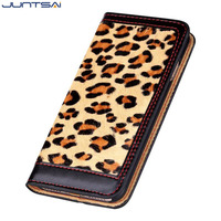 JUNTSAI For Iphone 7 7 Plus Luxury Classical Leopard Print Genuine Leather Wallet Case For Iphone